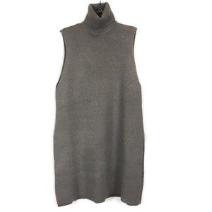 Zara Gray Sleeveless Sweater Tunic Side Slits M